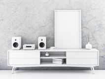 Vertical canvas poster Mockup with frame standing on bureau. 3d rendering vector illustration