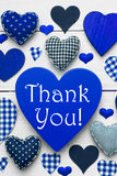 Vertical Card With Blue Heart Texture, Thank You Stock Photos