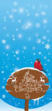 vertical card with bullfinch bird and wooden sign Stock Photography