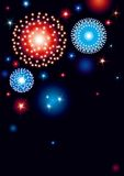 Vertical card with fireworks. Vector background with many stars and fireworks on night dark sky Royalty Free Stock Image