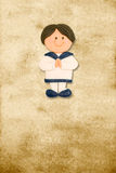 Vertical card first communion funny sailor boy Stock Photography