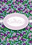 Vertical card with floral pattern and oval lace frame. Stock Images