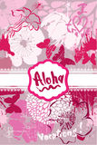 Vertical Card in grunge style with handwritten text ALOHA, VACAT Royalty Free Stock Image