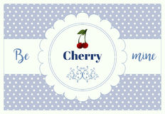 A vertical card for st.Valentine`s day with greeting Be mine cherry Stock Photo