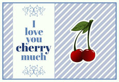 A vertical card for st.Valentine`s day with greeting I love you cherry much Royalty Free Stock Photos