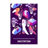 Vertical card with stylish fashion isometric objects for young woman or luxury lady. 3d dark scene with mannequin, jewelry, bags,. Shoes and accessories for vector illustration