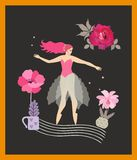 Vertical card with young girl dancing on stylized musical staff, flowers in flowerpots, red rose and stars isolated on black. Background in vector. Inspiration vector illustration
