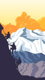 Vertical cartoon illustration of alpinists. Royalty Free Stock Photo