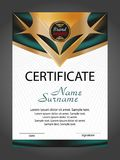 Vertical Certificate Or Diploma Template With Gold And Turquoise Decorative Elements On White Background. Vector Royalty Free Stock Images