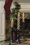 Vertical Christmas display in front of the fireplace stock photos
