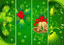 Vertical Christmas green banners Royalty Free Stock Image