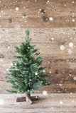 Vertical Christmas Tree, Aged Wooden Background, Snowflakes, Shabby Chic Royalty Free Stock Images