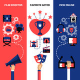 Vertical Cinema  Festival Banners. Cinema vertical banners with film director tools festival prize and view online icons vector illustration Royalty Free Stock Image