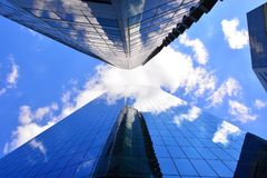Vertical cityscape architecture glass office buildings and sky Royalty Free Stock Image