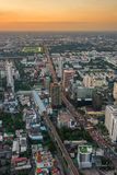 Vertical cityscape from a tall skyscraper - the city of Bangkok, Royalty Free Stock Photo