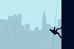 Vertical Climb. A conceptual illustration of a businessman climbing the wall of a skyscraper with a rope vertically Royalty Free Stock Photo