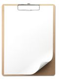 Vertical clipboard with white paper. Page corner curled. Isolated on white Stock Photography