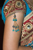 Vertical Close-up of Hindu Brides Jewelry & Dress Royalty Free Stock Images