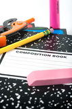 Vertical close-up of school supplies Royalty Free Stock Image