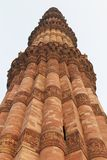 Vertical close up view of qutub minar, new delhi stock photos