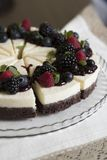 Vertical closeup cheesecake. Vertical closeup of chocolate bisquit cheesecake with fresh berries and mint leafs royalty free stock photo