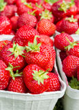 Vertical closeup for packages with fresh strawberries Royalty Free Stock Photos