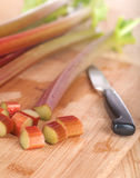 Vertical Closeup of Rhubarb Stalks and Pieces with Knife Royalty Free Stock Photography