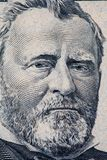 Ulysses S. Grant portrait on 50 US dollar bill. Vertical closeup of Ulysses S. Grant portrait on 50 US dollar bill stock photography