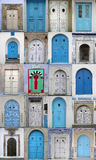 Vertical collage of doors in Tunesia Royalty Free Stock Images