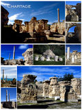 Vertical collage postcard of Carthage in Tunisia Stock Photography