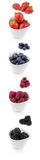 Vertical collection of berries in bowls Royalty Free Stock Images
