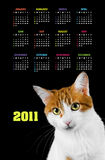 Vertical color calendar for 2011 year Royalty Free Stock Image