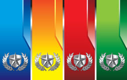 Vertical colored banners with silver star emblem Stock Photo