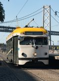Transit Train Moves Along the Waterfront Moving People in San Fr royalty free stock photography