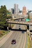 Interstate 5 Portland Oregon Highway Carries Cars South From Downtown stock photo