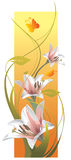 Vertical composition of lilies and butterflies Royalty Free Stock Images