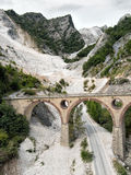 Vertical composition. Marble quarry in Italy. Stock Photos