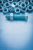 Vertical copyspace image of screw nuts and bolts Stock Photography