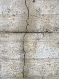 Vertical crack in concrete wall. Subsidence maybe. Royalty Free Stock Images