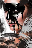 Vertical creative photo of sexy woman with paint on face Royalty Free Stock Photos