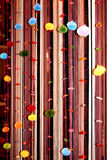 Vertical curtains. Decorated coloured balls Royalty Free Stock Images