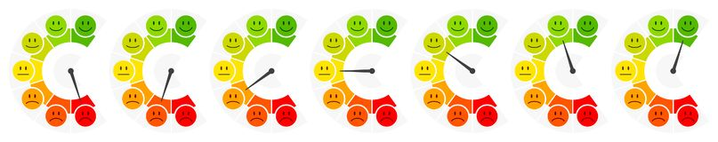 Vertical da opinião pública do barômetro da cor de sete caras ilustração do vetor