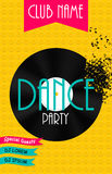 Vertical Dance Party Flyer Background with Place. For Your Text. Vector Illustration. EPS10 stock illustration
