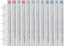 Vertical days calendar 2016 template. Vertical days calendar 2016 english language Royalty Free Stock Image