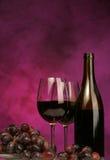 Vertical de la botella de vino con los vidrios y las uvas imagen de archivo