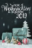 Vertical Decoration, Calligraphy Glueckliches 2019 Means Happy 2019, Frosty Look stock photos