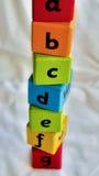 Vertical del ABC de los bloques de los niños Imágenes de archivo libres de regalías