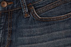 Close-up of blue jeans royalty free stock photography