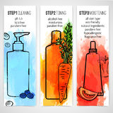 Vertical design template of brochures about organic cosmetic. Booklet wits natural ingredient. Information about steps. Skincare. Design with watercolor texture Royalty Free Stock Images