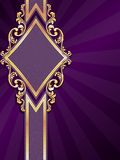 Vertical diamondshaped purple banner with gold fil